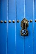 Blue Door of Kasbah of Oudaya, UNESCO World Heritage Site, Rabat, Morocco, Africa
