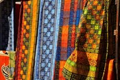 Cloth stall, African curio market, Cape Town, South Africa.