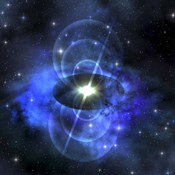 A brilliant star sends out magnetic waves out into surrounding space