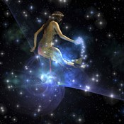 Celesta, spirit creature of the universe, spreads stars throughout the cosmos
