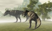 Two Tyrannosaurus Rex rest in the early morning light before the days hunt