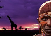 Maasai Warrior with Sunset on the Serengeti, Kenya
