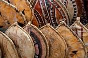 Kenya. Handmade Masai shields at a roadside market