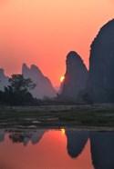 Karst Hills Along the River Bank, Li River, Yangshuo, Guangxi, China