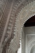 Wall tiles and carvings on Islamic law courts, Morocco