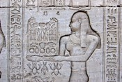 Queen Cleopatra and Stone Carved Hieroglyphics, Egypt
