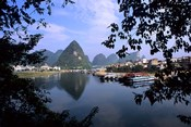 Wonderful ragged Limestone Mountains and Li River and city life of Yangshuo area of China