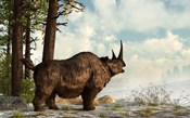 A woolly rhinoceros trudges through the snow, Pleistocene epoch