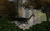 Gigantoraptor in a dense prehistoric forest