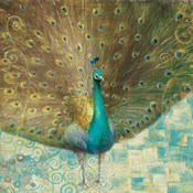 Teal Peacock on Gold