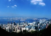 Majestic Hong Kong Harbor from Victoria Peak, Hong Kong, China