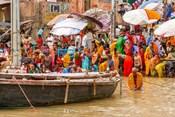 Worshipping Pilgrims on Ganges River, Varanasi, India