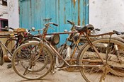 Group of bicycles in alley, Delhi, India