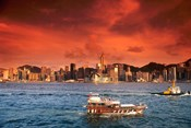 Hong Kong Harbor at Sunset, Hong Kong, China