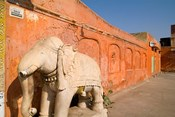 Old Temple with Stone Elephant, Downtown Center of the Pink City, Jaipur, Rajasthan, India