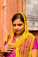 Woman in Colorful Sari in Old Delhi, India