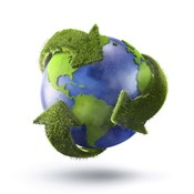 3D Rendering of planet Earth surrounded by grassy recycle symbol