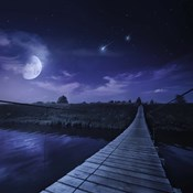 A bridge across the river at night against starry sky, Russia