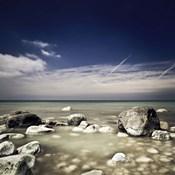 Big boulders in the sea, Liselund Slotspark, Denmark