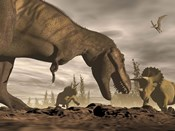 Tyrannosaurus Rex roaring at two Triceratops on rocky terrain
