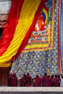 Monks raising a thangka during the Hemis Festival, Ledakh, India