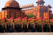 Indian Army soldiers march in formation, New Delhi, India