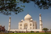 Asia, India, Taj Mahal with trees above as framing element