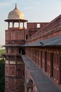 Two pigeons sit on the roof's ledge, Agra fort, India