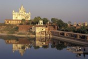 Temple Reflection and Locals, Rajasthan, India