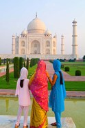 Hindu Women with Veils in the Taj Mahal, Agra, India
