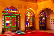 Windows of colored glass, Mehrangarh Fort, Jodhpur, Rajasthan, India