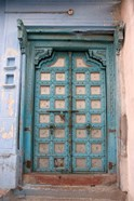 Blue-painted door, Jojawar, Rajasthan, India