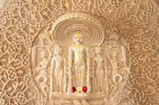 Carving on the wall, Jain Temple, Ranakpur, Rajasthan, India.