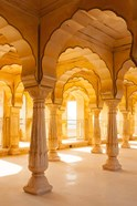 Colonnaded gallery, Amber Fort, Jaipur, Rajasthan, India.