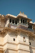 Decorated balconies, City Palace, Udaipur, Rajasthan, India.
