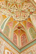 Frescoes, Ganesh Pol, Amber Fort, Jaipur, Rajasthan, India.