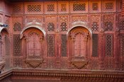 Intricately carved walls of Mehrangarh Fort, Jodhpur, Rajasthan, India