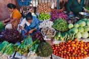Selling fruit in local market, Goa, India