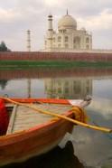 Canoe in Water with Taj Mahal, Agra, India