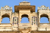 Architectual detail on City Palace, Udaipur, Rajasthan, India