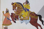 Wall Mural of horse and rider in the City Palace, Rajasthan, India