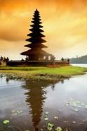 Religious Ulur Danu Temple in Lake Bratan, Bali, Indonesia