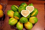Display of fresh heart shaped limes, Tokyo, Japan