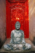 Buddha at Ornate Red Door, Ubud, Bali, Indonesia