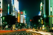 Expensive Shopping District with Night Traffic, Ginza Area, Tokyo, Japan