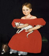 Girl in Red Dress with Cat and Dog, 1830-1835