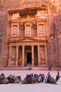 Camels at the Facade of Treasury (Al Khazneh), Petra, Jordan