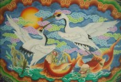 Taiwan, Peimen, Nankunshen Temple, Ceiling mural of cranes and catfish