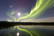 Aurora Borealis and Full Moon over the Yukon River, Canada