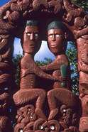 Native Maori, Wooden Tribal Statue, Maori Arts and Crafts Institute, New Zealand